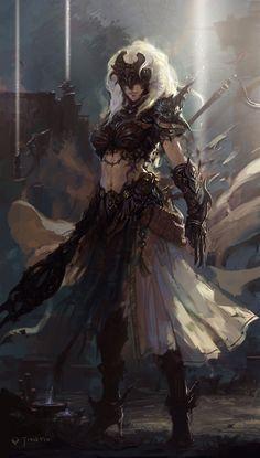 Junia, la Devota. Dall'ultima volta che le Zanne l'hanno vista, sembra profondamente cambiata. Il suo equipaggiamento ha l'aria di essere letale e dalla fattura prodigiosa, per non parlare del suo sguardo, terribilmente serio e senza pietà. Brandisce una lunga verga d'ebano che emana una temibile aura malvagia e di dolore.