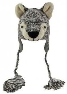 Cute Knit Animal Hats- want to learn how to make these! Knitting For Kids, Baby Knitting, Crochet Baby Hats, Knitted Hats, Knitting Designs, Knitting Patterns, Wolf Hat, Novelty Hats, Crazy Hats