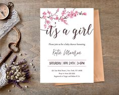 Cherry Blossom Baby Shower Invitation  It's a Girl by DrawMeAParty