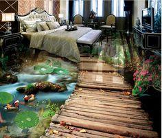Benutzerdefinierte 3d Bodenfliesen Fototapete Brücke Wasser  3d Floor Wallpaper Pvc Selbstklebende Tapete 3d Boden