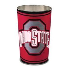 "Ohio State Buckeyes OSU NCAA 15"" Waste Basket. These high quality metal waste baskets are great for a rec room, childs room, bathroom or anywhere you want to show your team spirit! They are 15"" tall, and about 10"" wide at the top. They have a tapered top, and feature bright colors and great graphics. The graphics are on both sides of the trash can. Made by WinCraft."