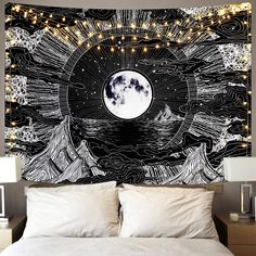 Moon Tapestry, Tapestry Bedroom, Tapestry Wall Hanging, Ceiling Tapestry, Teen Room Decor, Room Ideas Bedroom, Bedroom Decor, Cool Tapestries, Rooms With Tapestries