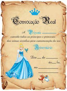 Festa Cinderela Convite Aniversário C/30 ** - R$ 28,00