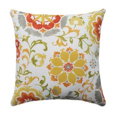Floral Outdoor Pillow Sislo Amber Suzani by LandofPillowsDotCom