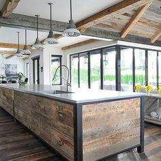 Reclaimed Wood Planks on Kitchen Island