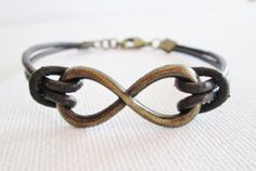 Mens Armbands – Leather bracelet & Infinity ** BROWN – a unique product by anehandmade on DaWanda