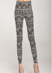 Fine Quality Printed Pattern Grey Sheath Ankle Length Leggings Price: 6.76