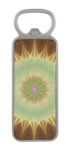 Fractal mandala sun magnetic bottle opener
