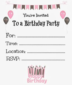 Girl Birthday Party Invitations Printable Lovely Free Printable Birthday Invitations for Kids Birthday Free Birthday Invitation Templates, Free Printable Birthday Invitations, Kids Birthday Party Invitations, Invitation Ideas, Birthday Ideas, Birthday Template, Girl Birthday, Birthday Crafts, Invitation Cards