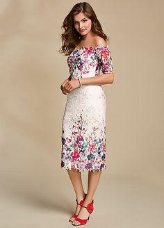 dc5f3e9d37a4 Border Print Lace Bardot Dress