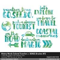 Watery Words Colored Transfers and BONUS Brushes No. 03