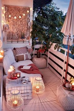 From string lights to solar lights and beyond, we've got the best outdoor lighting ideas here. They're such an easy way to elevate and dress up your backyard, especially if you have a patio area. Small Balcony Design, Small Balcony Decor, Outdoor Balcony, Balcony Garden, Balcony Decoration, Balcony Hanging Plants, Patio Balcony Ideas, Small Patio Ideas Townhouse, Balcony House