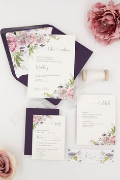 The Katie Suite features rustic watercolor flowers paired with deep plum envelopes. Purple Wedding Invitations, Rustic Invitations, Custom Wedding Invitations, Wedding Invitation Cards, Wedding Stationery, Wedding Cards, Invitation Ideas, Shower Invitation, Invites