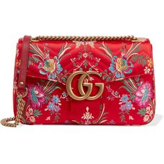 Gucci GG Marmont medium quilted floral-jacquard shoulder bag (5.710 RON) ❤ liked on Polyvore featuring bags, handbags, gucci, clutches, bolsa, red, shoulder hand bags, floral print handbags, gucci shoulder bag and floral purse