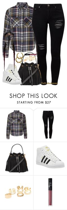 """""""grass ain't greener // chris brown"""" by x0-chelseaa ❤ liked on Polyvore featuring Topshop, Gestuz, Moschino, adidas and NARS Cosmetics"""