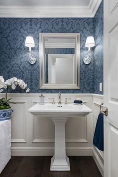 Blue Powder Rooms, Powder Room Decor, Powder Room Design, Small Powder Rooms, Guest Bathrooms, Hall Bathroom, Bathroom Ideas, Bath Ideas, Cozy Bathroom