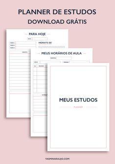 Meus Estudos Planner - Download grátis   Yasmin Araujo Student Planner Printable, School Planner, Planner Template, Study Planner, Blog Planner, Weekly Planner, Planner Online, Study Organization, Planner Organization