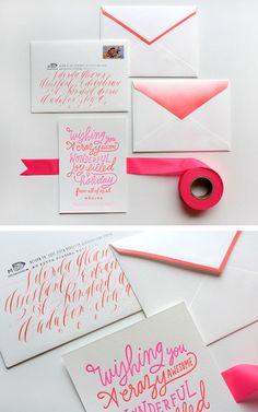 Pretty writing + watercolor + striped envelope.