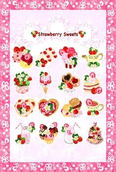 """そのまま印刷できるフリーのイラスト素材苺スイーツのポストカード Free illustration """"The postcard of Japanese sweets"""""""