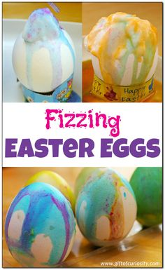 Fizzing Easter eggs: This year, don't just dye your eggs, make fizzing Easter eggs that combine art, fine motor development, and science into one gorgeous way to decorate your eggs for Easter!