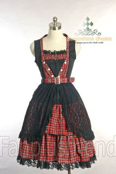 +Gothic Lolita+ Street Casual/Punk Lolita: Large Lace Shadow Double Frilled Dress	Price: $59