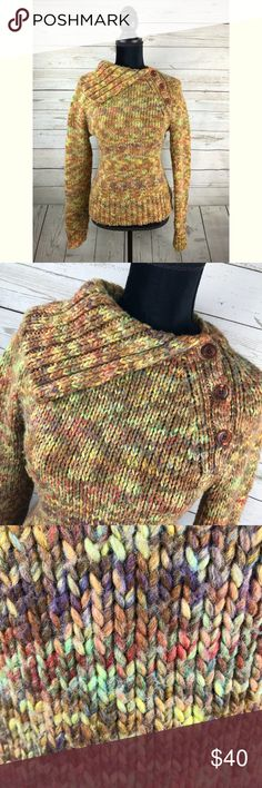 """Caslon Rainbow Button Collar Wool Blend Sweater M Unique Caslon wool blend sweater. Large, chunky knit. Button collar/neck. Gently used condition. Size M. Approximate measurements lying flat: Chest: 16.5"""" Length 23"""" B5 Caslon Sweaters"""