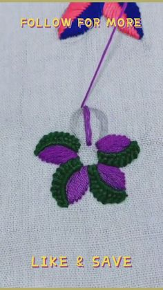 Flower Embroidery Designs, Hand Embroidery Patterns Flowers, Basic Embroidery Stitches, Hand Embroidery Videos, Embroidery Stitches Tutorial, Creative Embroidery, Embroidery Techniques, Crochet Necklace, Sewing Patterns