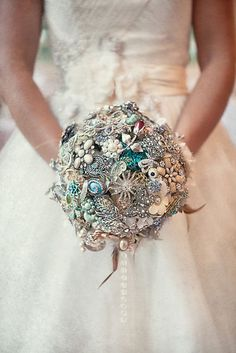 A super unique wedding bouquet. Image from D Coleman Photography.