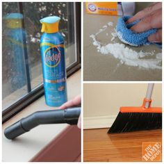 Secrets to cleaning success? Baking soda cleans laminate countertops, Pledge makes dusting easier, and  sweeping baseboards is simple with an angled brush. Click through for even more tips!