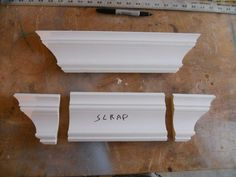 DIY tutorial for how to build a crown molding shelf