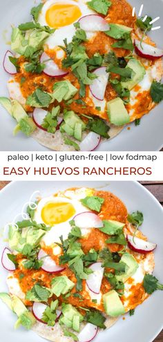 This paleo huevos rancheros recipe is surprisingly easy, quick, healthy, gluten-free, keto and low fodmap! Salad Recipes Gluten Free, Whole Food Recipes, Keto Recipes, Healthy Breakfast Recipes, Brunch Recipes, Fodmap Breakfast, Delicious Dinner Recipes, Paleo Dinner, Whole 30 Diet