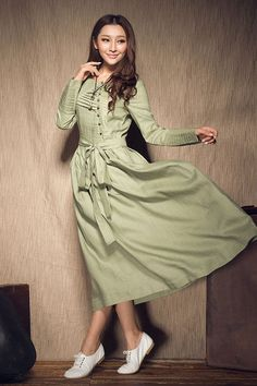 Long Linen Dress in Teal Green with floral van camelliatune op Etsy, $99.00