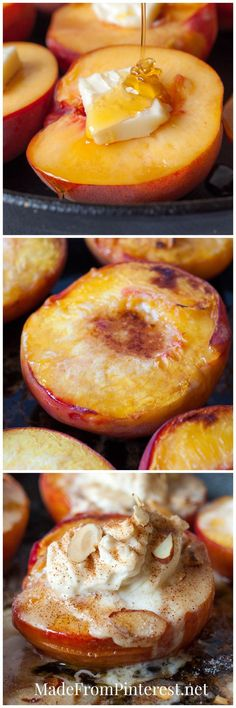 I love baked peaches! Baked Peaches and Cream - Butter and honey drizzled peaches bake up to perfection and are later topped with cream, cinnamon sugar and almonds! Fruit Recipes, Sweet Recipes, Dessert Recipes, Cooking Recipes, Fruit Dessert, Fall Recipes, Recipies, Just Desserts, Delicious Desserts