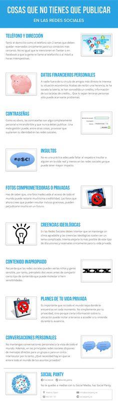 Infografia creada por nuestra #Agencia de #SocialMedia sobre las Cosas que no tienes que publicar en las #RedesSociales