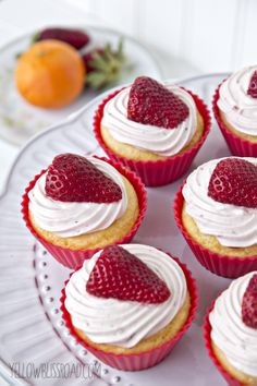 Yummy! Strawberry Orange Cupcakes that are super easy and delicious!