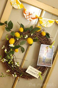 Summer wreath - DIY Decor - Lemons - The Mombot...21 Summer Wreath Tutorials!