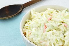 I love to eat coleslaw all year round!  Pictured:  Creamy Cabbage and Bok Choy Slaw #creamy #cabbage #bokchoy #slaw