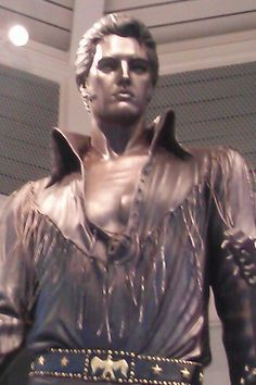 Elvis Statue located at the Visitors Center on the Mississippi River in Memphis Tn January 2013