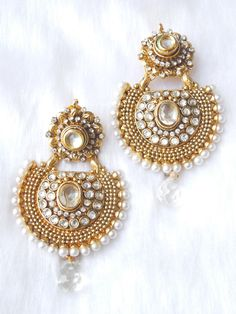 Indian Jewelry Store | Swasam.com: Polki Earings - Earrings - Jewelry Shop to Buy The Best Indian Jewelry http://www.swasam.com/jewelry/earrings/polki-earings-3856.html?___SID=U #indianjewelry #indian #jewelry #earrings