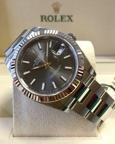 Rolex Datejust 41 Dark Rhodium Baton Dial 126334