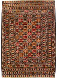 "Beige/Brown Oriental Soumak Kilim 3' 8"" x 5' 10"" (ft) - No. 17508"