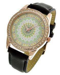 Rose Gold Tone / Black Leatherette / Clear Rhinestone / Lead&nickel Compliant / Stainless Steel Back / Buckle Closure / Watch