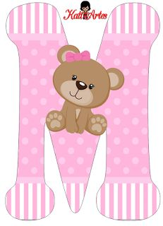 Oh my Alfabetos!: Alfabeto de tierna osita con fondo rosa. Clipart Baby, Baby Shawer, Bear Party, Alphabet And Numbers, Letter Symbols, Baby Cards, Baby Sewing, Lettering Design, Trendy Baby