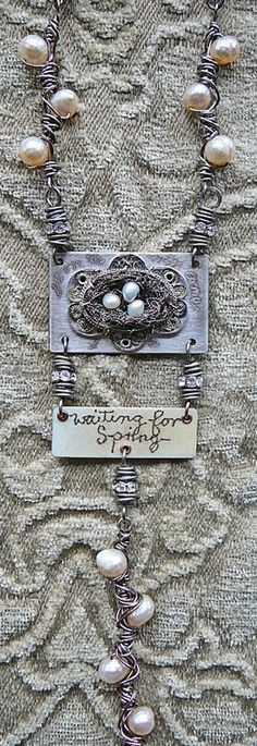 Some great elements!  ...too much at once for me... but I love the nest, I like the pearl and wire links.  Jewelry by Nina Bagley