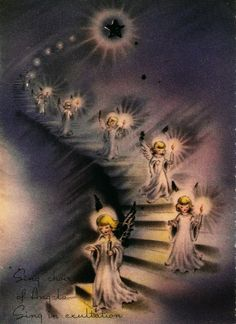 Vintage Christmas Card Angels Candles Stairway by PaperPrizes