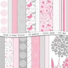 Pink and gray floral digital scrapbooking paper pack - 18 printable jpeg papers, 12x12, 300 dpi - instant download on Etsy, 3,50$