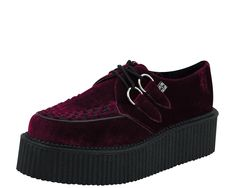 Burgundy Velvet Round Toe Mondo Creepers - T.U.K. Shoes | T.U.K. Shoes