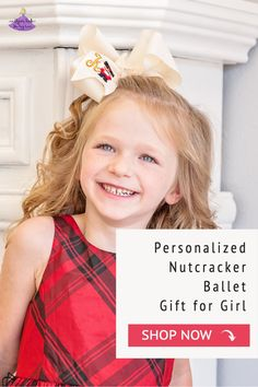 The perfect personalized gift for the Nutcracker. The bow features an embroidered nutcracker with the initial letter of your choice. Available in four sizes and a variety of colors it is the perfect holiday accessory. You can select a matching center knot or a gold glitter center knot. It has been beautifully crafted out of quality ribbon that is slightly twisted for that classic boutique bow shape that won't lie too flat when worn. Big Hair Bows, Big Bows, Christmas Hair Bows, Christmas Accessories, Nutcracker Christmas, Boutique Bows, Cheer Bows, Girls Shopping, Gifts For Girls