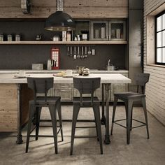 Amisco Station Metal Stool, Distressed Wood Seat and Backrest, Counter Height