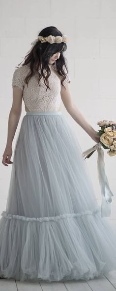Vintage Multicolor Lace Short Sleeve Scallop Boho WEDDING Dress Gown ...